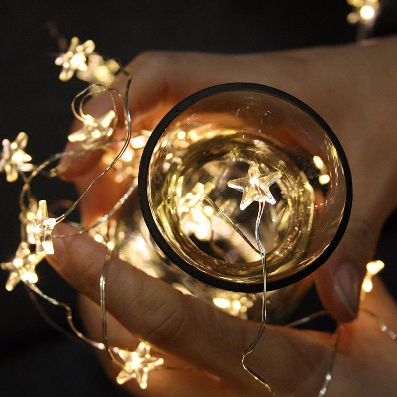 2M/3M LED Star Copper Wire String Lights LED Fairy Lights Christmas Wedding Decoration Lights Battery Operate Twinkle Lights