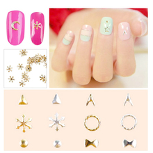 8 Styles Silver Gold Moon Star Snowflake Round Bow Tie Metal 3D Nail Art Decoration DIY Cute Tiny Alloy LRS
