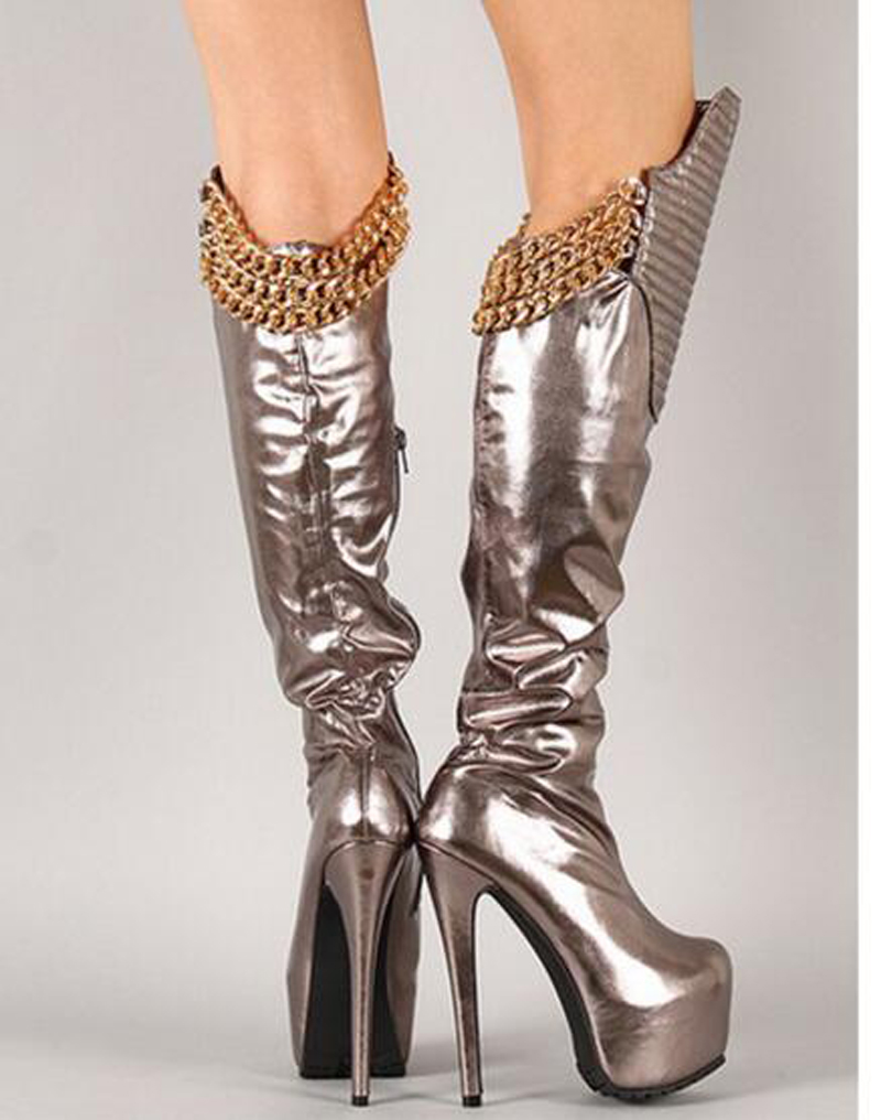 Sexy Design Women Fashion Round Toe Black Gold Chain Design Knee High Boots High Platform Knight Winter Boots Dress Shoes