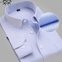 New Design Men Shirts Twill Cotton Pure Color White Business Formal Dress Shirts Men Fashion Long