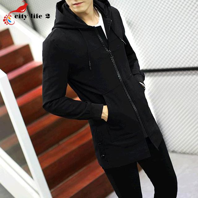 Longo Vestido Casaco Fino Blusão Jaqueta Dos Homens de Cor Sólida Trincheira casacos 2016 Outono Nova outono Casaco Masculino Plus Size M-5XL