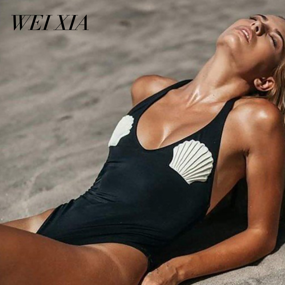 WEIXIA 1836 new arrival One Piece Swimsuit Women Cut Out Bodysuit Sexy Solid Out Monokini Swimwear Female New Beach