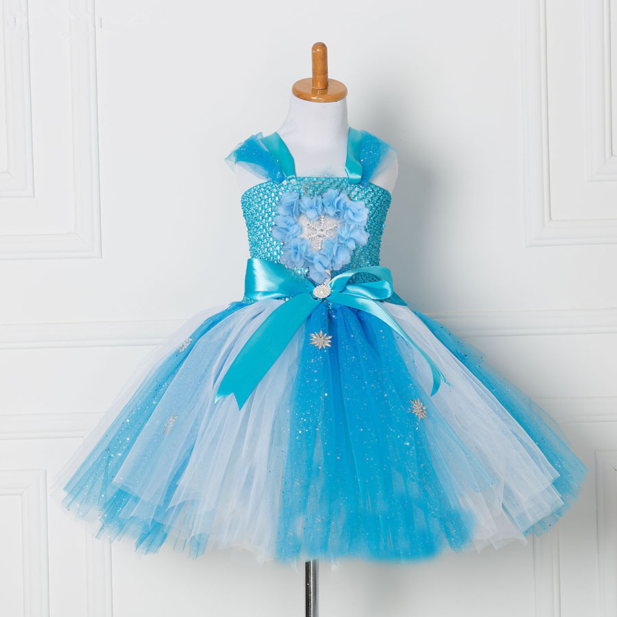 Tulle Tutu Dress Princess Anna Elsa Dress Snow Queen Halloween Party Vestidos Costume Cosplay Girl Dress Summer Girls Clothes