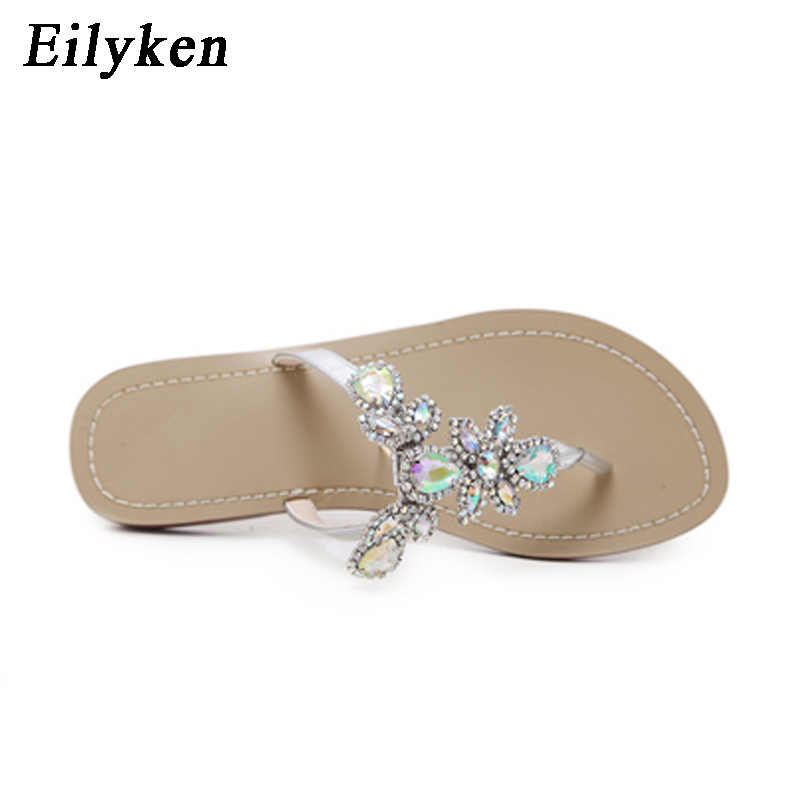 4a25fb7d1e4ff2 ... Eilyken 2018 New Leisure Woman Sandals Slippers Shoes Rhine stones Crystal  Chains Gladiator Flat Sandals Plus ...