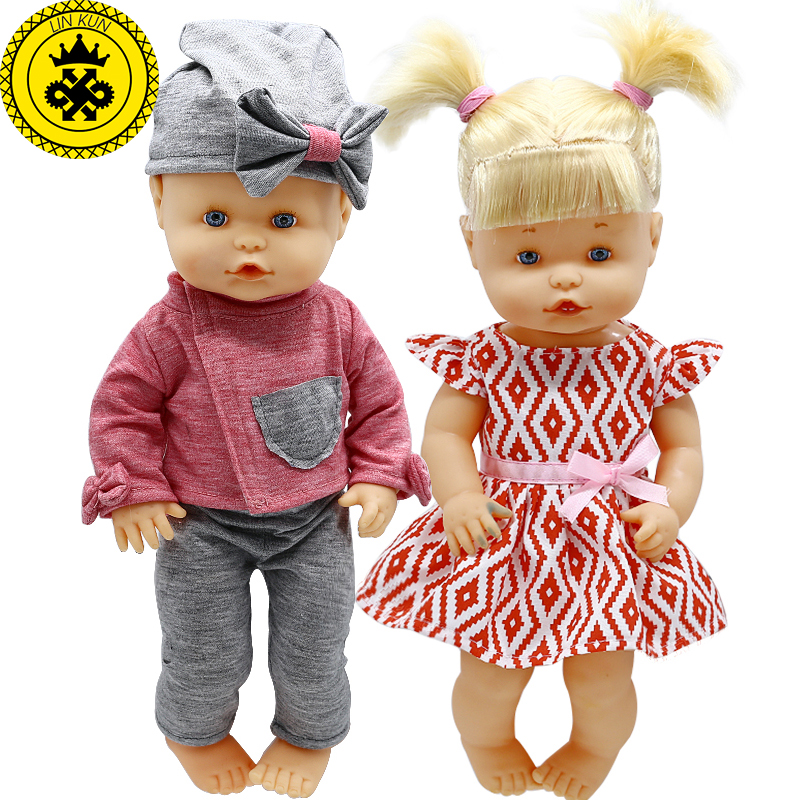 Doll Clothes Fit 35cm Baby Doll Cute Jacket + Trousers Hat Suit And Princess Dress Doll Accessories 600