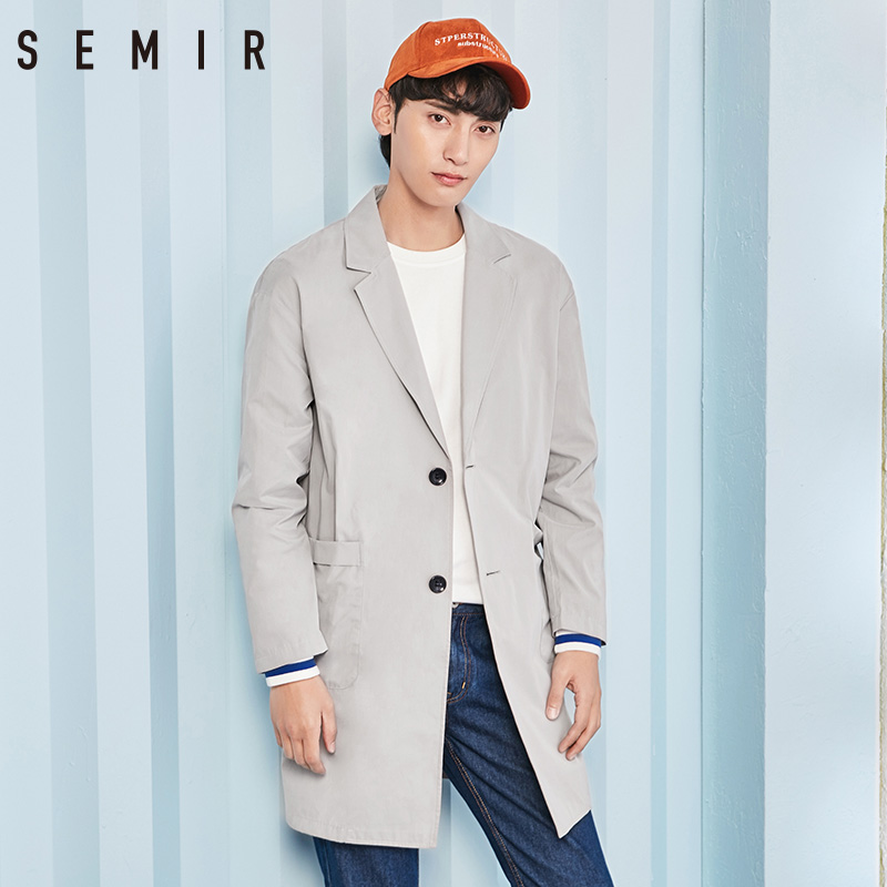 SEMIR Clothing Coat Spring-Jackets Long-Trench Mens For Man Letter-Print Simple