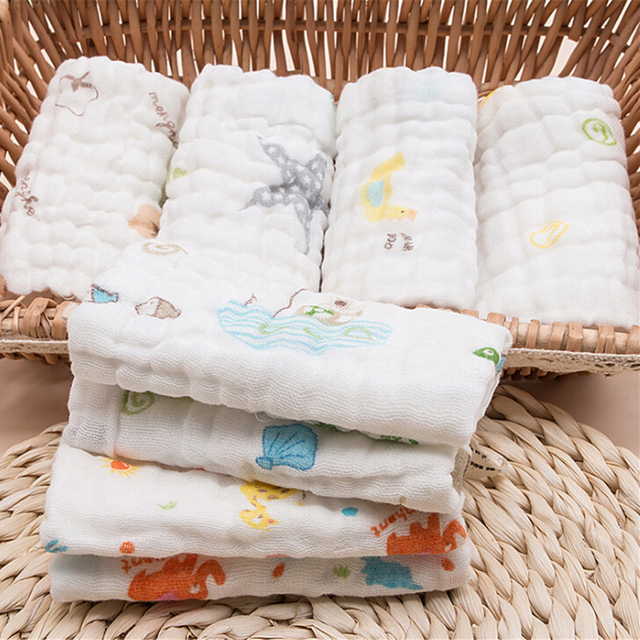 25x25cm 6 layers muslin cotton baby wipe towel absorbent and soft baby handkerchief for baby girls boys