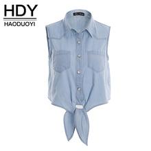 Hdy haoduoyi moda azul das mulheres camisas sem mangas único breasted turn-down collar tops de culturas bowknot pockets magro camisas casuais(China (Mainland))