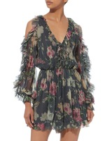 Для женщин уголь Iris Tie Sleeve комбинезон на шнуровке с цветочным принтом Sheer шелк Playsuit трепещет с вырезом out плечи