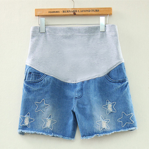 2016 New Fashion Style Hot Summer Pregnant Belly Big Size Star Maternity Denim Blue Knee-Length Pants Shorts