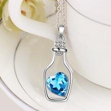 Blue Zircon Vintage Heart Silver Wishing Bottle Pendant Chain Charms Statement Women Fashion Necklace Jewelry Pendant 31*14mm