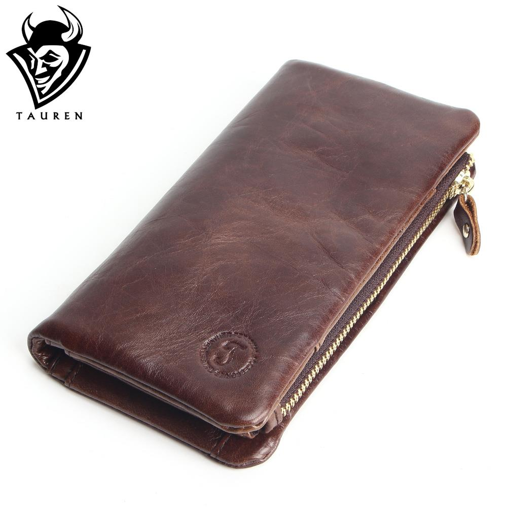 2017 New Luxury Vintage Retro 100% Genuine Oil Wax Leather Cowhide Men Long Wallet Wallets Coin Purse Clutch With Zipper For Men vintage retro 100