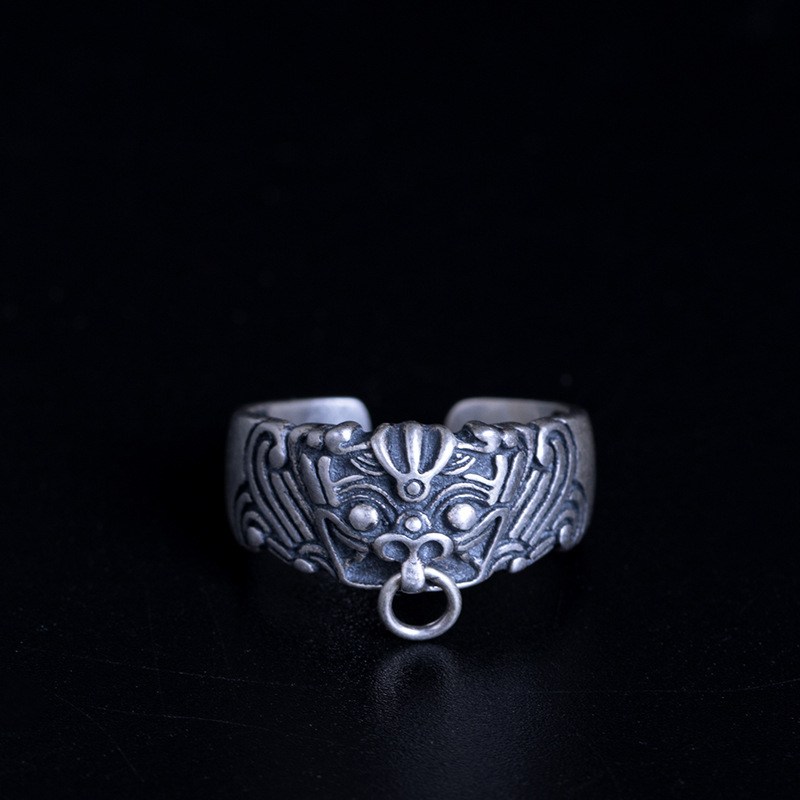 Flyleaf Chinese Style Matte Retro God Beast Dragon Open Rings For Women Men 100% 925 Sterling Silver Vintage Style Jewelry