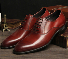 Brown tan / Black Breathable mens dress shoes flats genuine leather business shoes formal wedding shoes mens oxfords shoes
