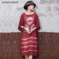 2018 Summer Dress Women Casual Cotton Linen Vintage Dress Half Sleeve O-Neck Female Printing O-Neck Vestidos De Festa