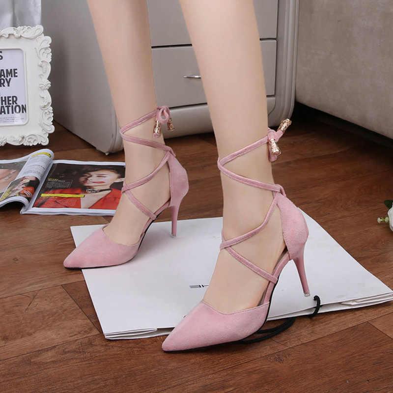 グラディエーター女性はクロスなハイヒールサンダル女性ポインテッドトゥハイヒールの靴ファッションパンプススエード女性サンダル