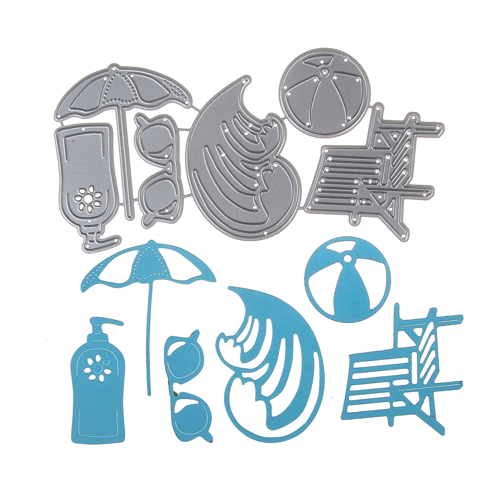 Beach chair with umbrella painting - Cutting Dies Metal Embossing Stencil Beach Chair Umbrella Design Die Craft For Diy Cards Album Book