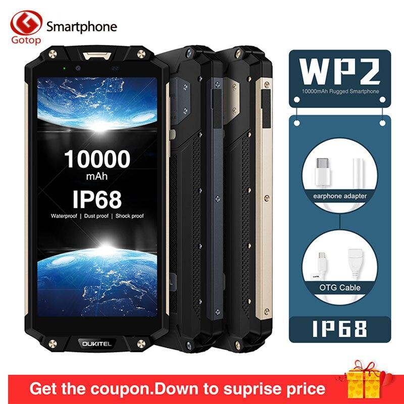 OUKITEL WP2 MT6750T Octa Core Mobile Phone 4GB 64GB 6.0 18:9 10000mAh Cell Phone IP68 Waterproof Dust Shock Proof 4G Smartphone