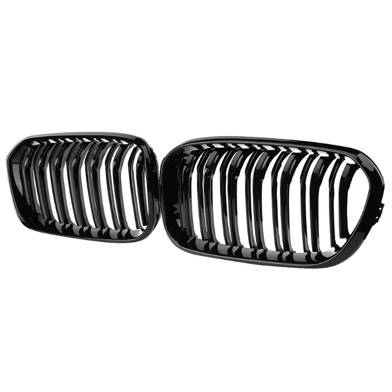 1 Pair Gloss Black Car Front Kidney Grilles Racing Grills for BMW 1 Series F20 F21 LCI 118 120 125 135i 2014-2016 Auto Accessory x3 x4 dual front kidney grill for bmw f25 lci