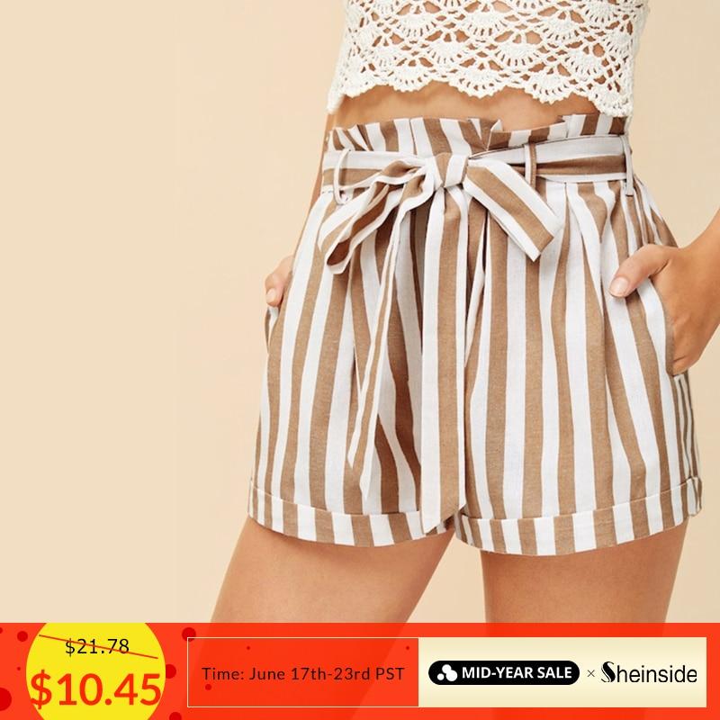 Sheinside Casual Vertical Stripe Belted   Shorts   Women 2019 Summer Paperbag Waist   Shorts   Ladies Elastic Waist Slant Pocket   Shorts