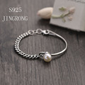 2016 New S925 Sterling Sliver Bangle Christmas Gifts The Chain Bracelet Bangles Fashion Ladies Gifts Pure 925 Pearl Jewelry