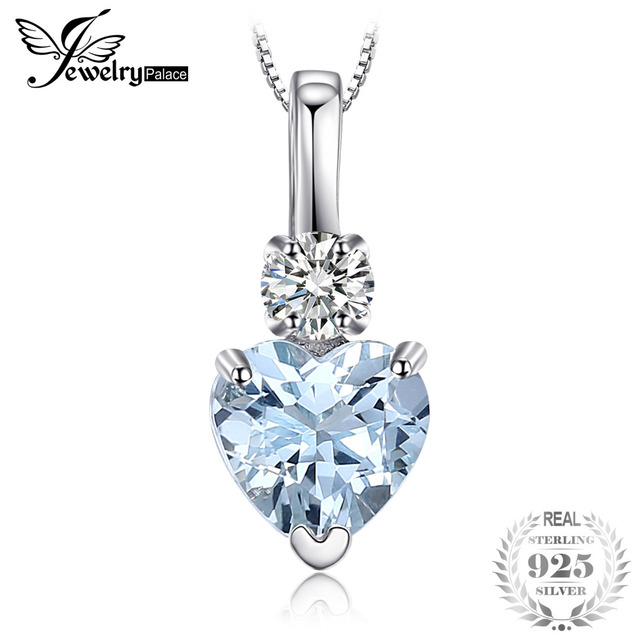 JewelryPalace Heart Love Natural Aquamarine White Topaz Pendant 925 Sterling Sil