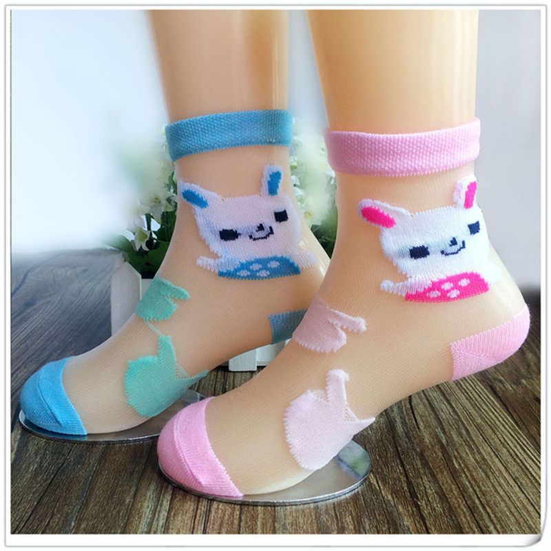 6 Pairs/Lot Girls Socks For Children Summer Kids Mesh Style Baby Girl Cartoon Rabbit Socks With Elastic  Girl Socks Wholesale