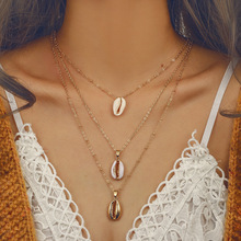 2019 Beach Gold Color Natural Shell Pendent three layer Necklace Set Bohemian Alloy Long Choker Jewelry