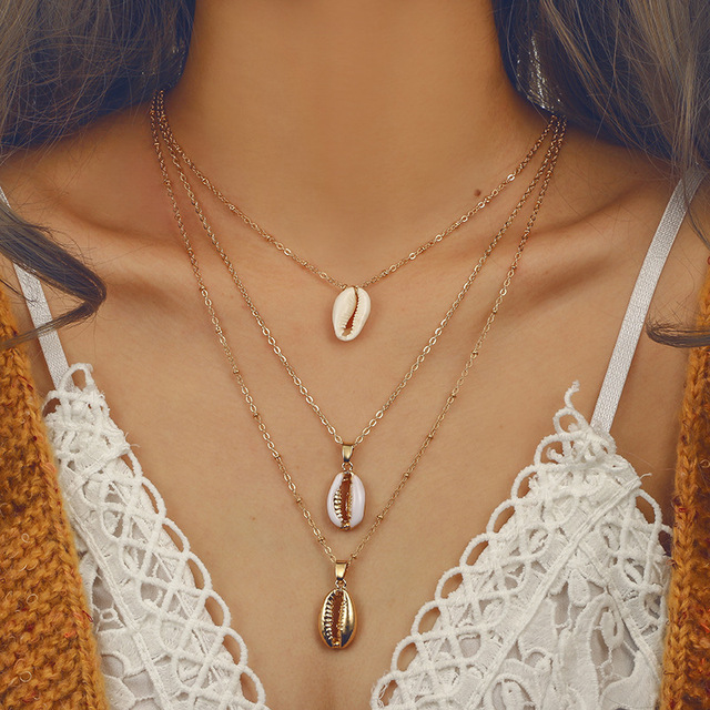 Beach Gold Color Natural Shell Pendent three layer Necklace Set Gold Color Bohemian Alloy Best Friend Necklace Jewelry