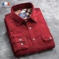 Langmeng 100% хлопок Вельвет Рубашка мужчины 2016 Осень Весна Длинным Рукавом Платье Рубашки Мужские бизнес социальная camisa masculina
