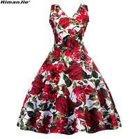 Red Rose Flower Print Vintage Dress V Neck Spring Autumn Cotton Printed Waist Swing Dress Formal