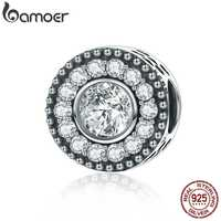 BAMOER High Quality 100% 925 Sterling Silver Dazzling CZ Gorgeous Rhymes Beads fit Charm Bracelets for Women Jewelry SCC267
