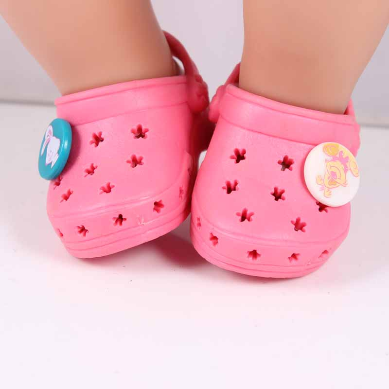 Only 60PCS Baby Born Zapf Doll Accessories Pink Shoelace Charms Sandals Doll Shoes Fit 43cm Baby