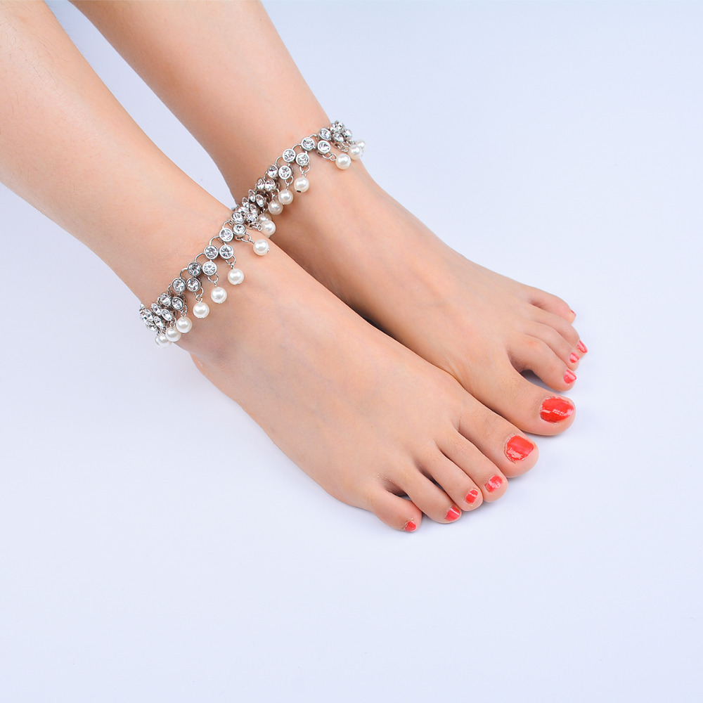 11daeef8c57682 Z Luxury Rhinestone Anklet Bracelet Bohemia Simulated Pearl Tassel Anklets  for Women Beach Barefoot