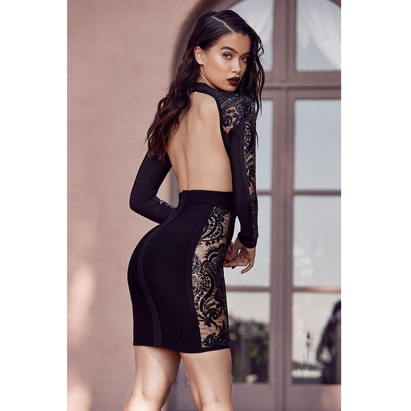 2018 Sexy Casual Winter Long Sleeve Midi Dress For Women Fahion New Lace O Neck Black Dress Lady Club Night Wear Fomal Dress