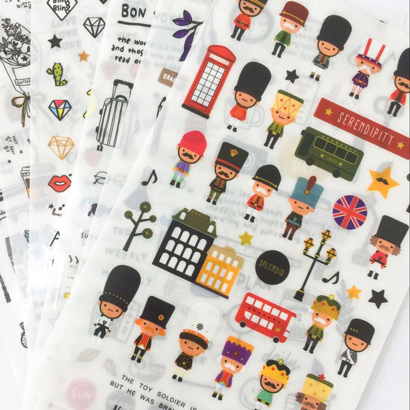 6 Sheets Travel Journal London Style Adhesive Stickers Decorative Album Diary Stick Label Hand Account Decor Stationery