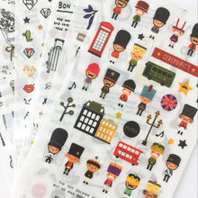 6 Sheets Travel Journal London Style Adhesive Stickers Decorative Album Diary Stick Label Hand Account Decor Stationery(China)