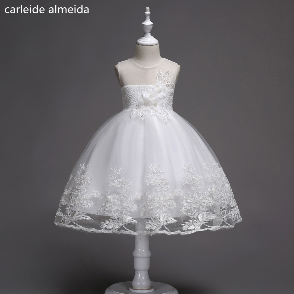 Lace & Tulle O-Neck Ball Gown   Flower     Girl     Dresses   Knee Length Primera comunion   Dress   Lace Appliques Vestido daminha