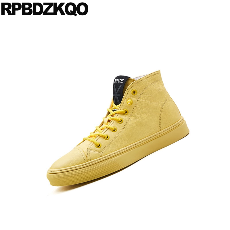 Männer Echtem Schwarzes Gelb Italienische Qualität Runway 2018 Top weiß Trainer Komfort Turnschuhe Skate Schuhe Winter Luxus Deluxe Leder Marke Hohe gelb 8wdYqEU