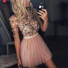 TaoHill коктейльные платья с длинными рукавами ТРАПЕЦИЕВИДНОЕ Короткое мини-платье с круглым вырезом ручной работы с цветами вечерние размера плюс розовые платья для выпускного вечера