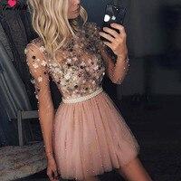TaoHill 2019 Длинные рукава коктейльные платья а силуэта с круглым вырезом Короткие мини ручной работы Цветы вечерние плюс размер розовые платья