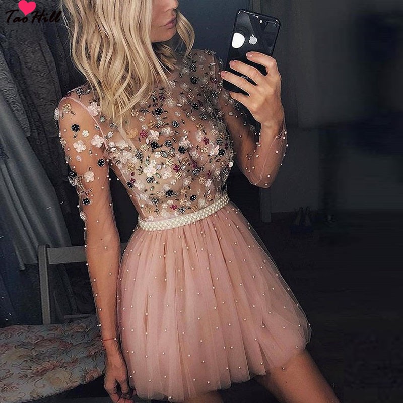 TaoHill 2019 Long Sleeves Cocktail Dresses A-line O-neck Short Mini Handmade Flowers Party Plus Size Pink Homecoming Dresses