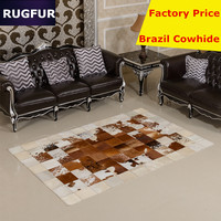 Brazil imports Cow Hair Carpet of European and American luxury fashion Cowhide leather stitching Villa living room carpet