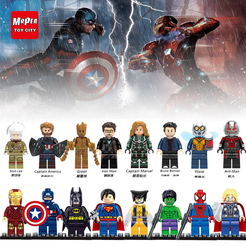 Compatible With Legoed Avengers Super Heroes Marvel Toys For Kid Iron Man Thor Ant Man Deadpool Thanos Hulk Building Blocks YY30(China)