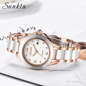 Image 4 - SUNKTA 새로운 로즈 골드 시계 여성 쿼츠 시계 숙녀 최고 브랜드 럭셔리 여성 손목 시계 소녀 시계 아내 선물 Zegarek Damski