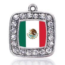 Мексиканский флаг квадратный Шарм в античном стиле посеребренные ювелирные изделия