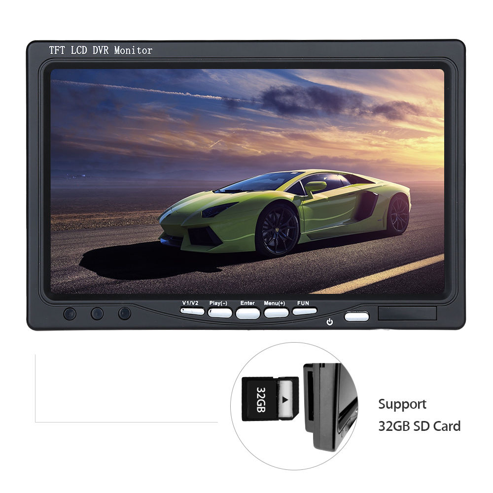 7 inch Digital Color HD TFT LCD Monitor Screen 2 Video Input Black for car Rear View Backup Camera DVD VCR GPS TV car headrest 2 pieces monitor cd dvd player autoradio black 9 inch digital screen zipper car monitor usb sd fm tv game ir remote
