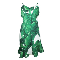 New Summer Women Casual Sexy Short Dress Green Leaves Printed Spaghetti Strap Sleeveless Beach Dress Party Mini Dresses