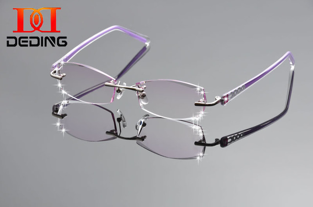 3242346930 DeDing Women Fashion Glasses Titanium Rimless Eyeglasses Frame Diamond  Decorations Optical Frame with Prescription Glass DD1255