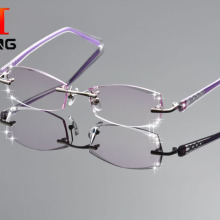DeDing Women Fashion Glasses Titanium Rimless Eyeglasses Fra